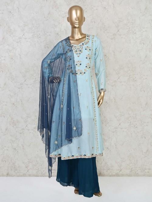 Sky Blue Cotton Festive Wear Palazzo Set