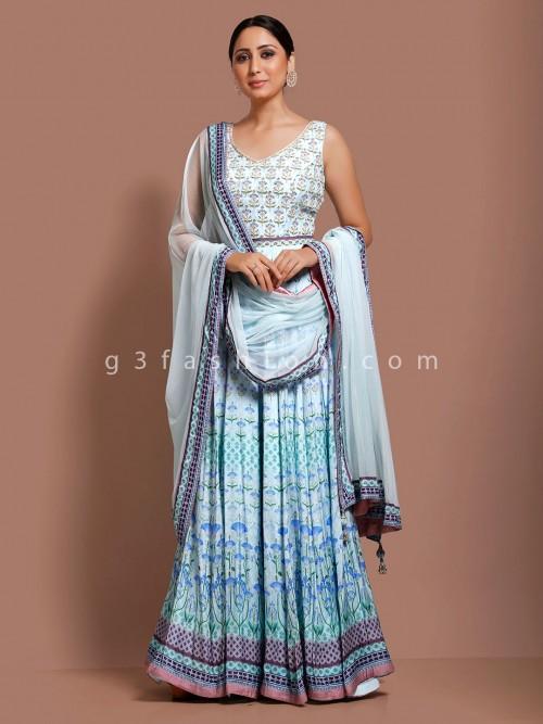 Sky Blue Cotton Floor Length Printed Anarkali Suit