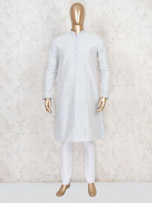 Sky Blue Cotton Kurta Suit For Festive