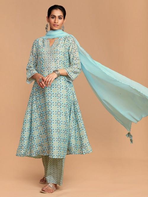 Sky Blue Cotton Printed Keyhole Neck Palazzo Suit