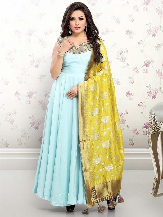 Sky Blue Cotton Silk Anarkali Salwar Suit