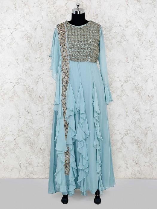 Sky Blue Cotton Silk Designer Long Salwar Suit