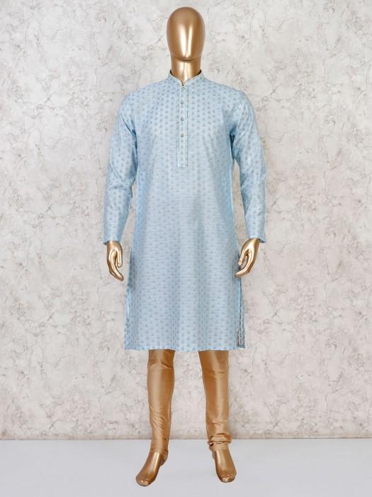 Sky Blue Cotton Silk Kurta Suit For Mens