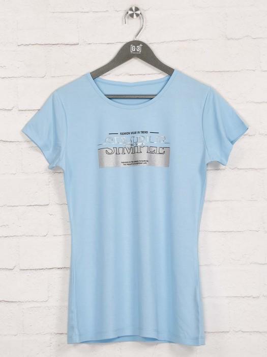 Sky Blue Foil Printed Cap Sleeves Top