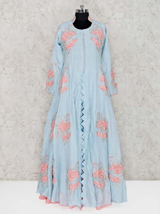 Sky Blue Georgette Party Lehenga Suit