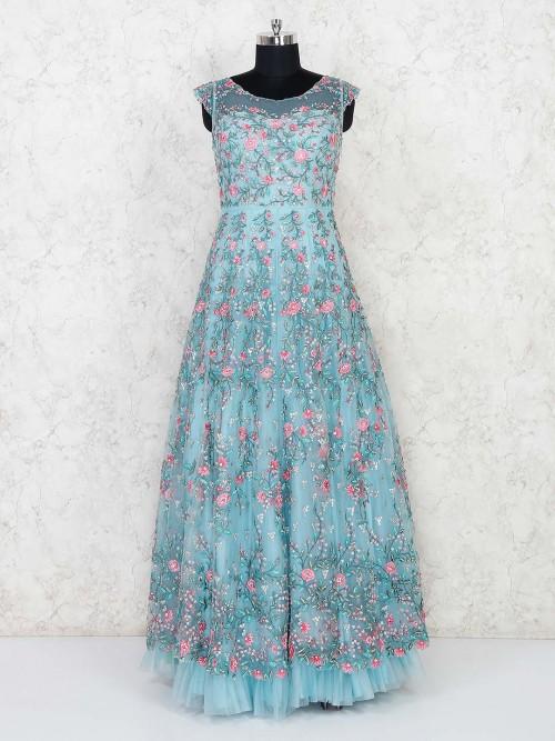 Sky Blue Net Wedding Function Gown