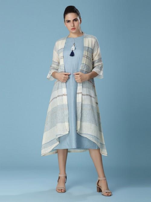 Sky Blue Printed Linen Kurti For Pretty Wonens
