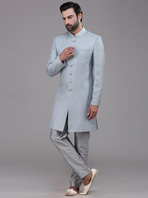 Grey Silk Mens Indo Western