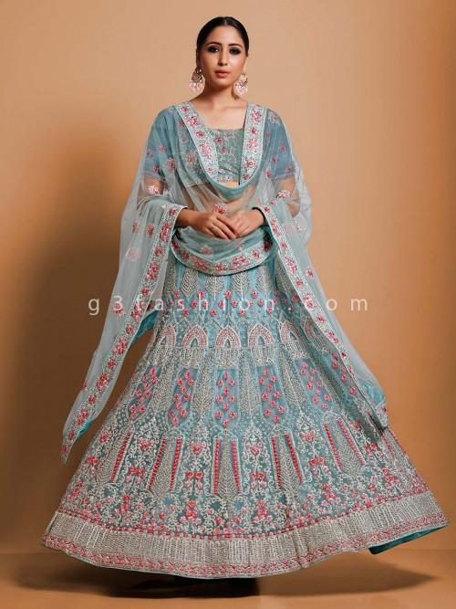 Sky Blue Thread Work Semi Stitched Lehenga Choli