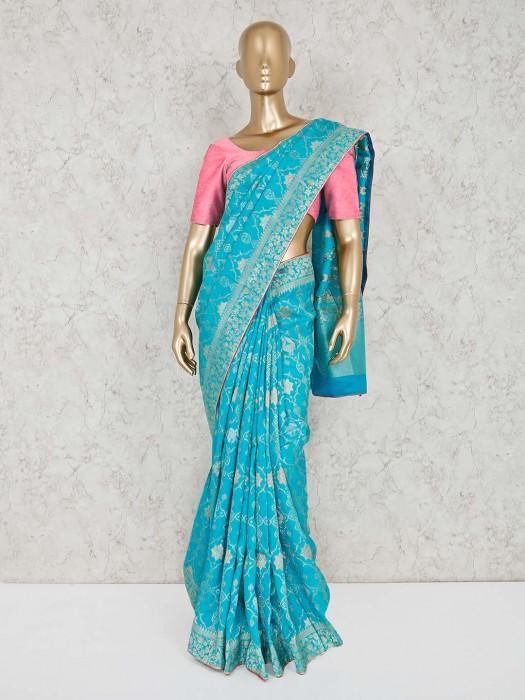Sky Blue Wedding Muga Silk Saree