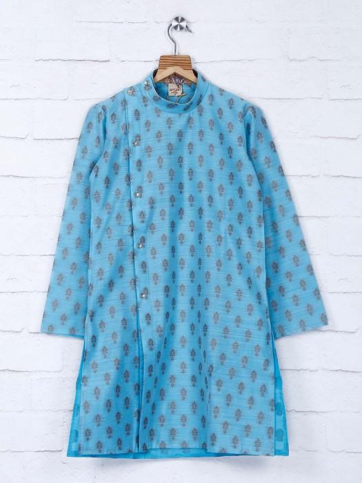 Sky Blur Printed Cotton Fabric Kurta Suit