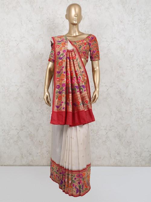 Sober White Banarasi Silk Saree