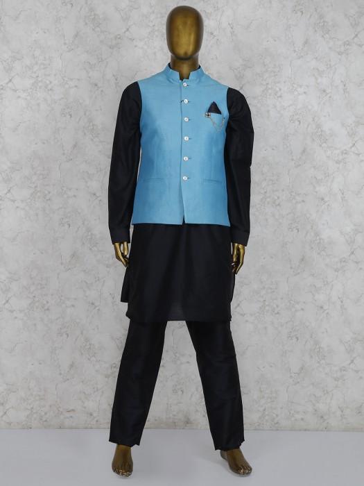 Solid Black And Aqua Color Silk Waistcoat Set