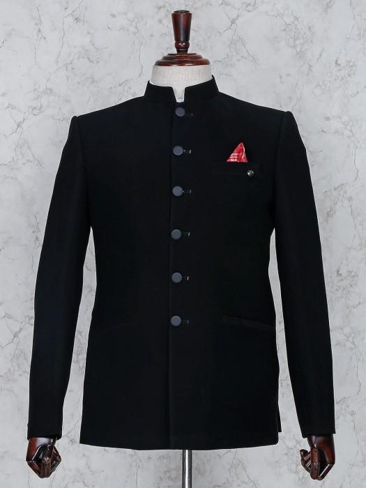 Solid Black Color Terry Rayon Jodhpuri Suit