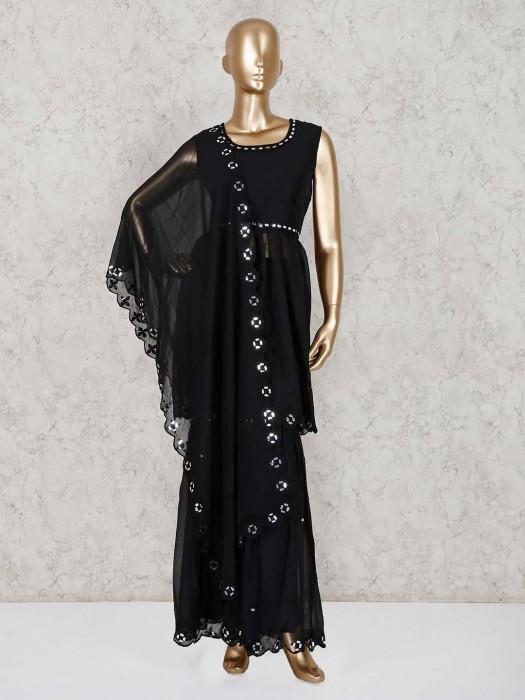 Solid Black Georgette Punjabi Sharara Suit