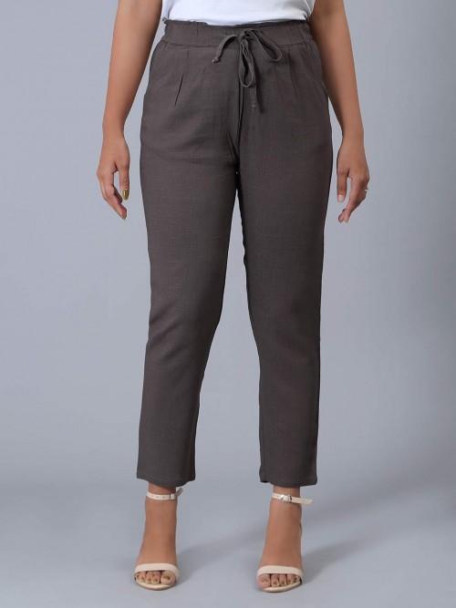 Solid Brown Linen Pyjama Casual Wear