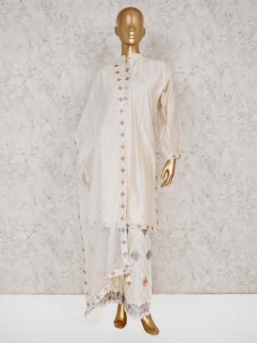 Solid Cream Punjabi Palazzo Suit In Cotton