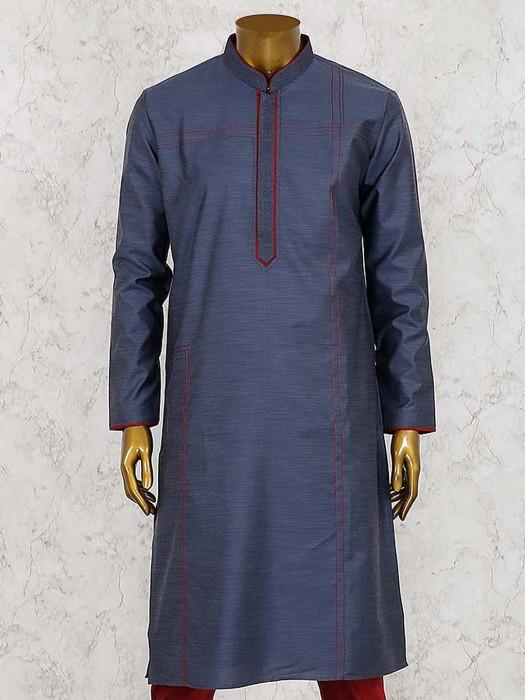 Solid Dark Grey Cotton Silk Kurta Suit
