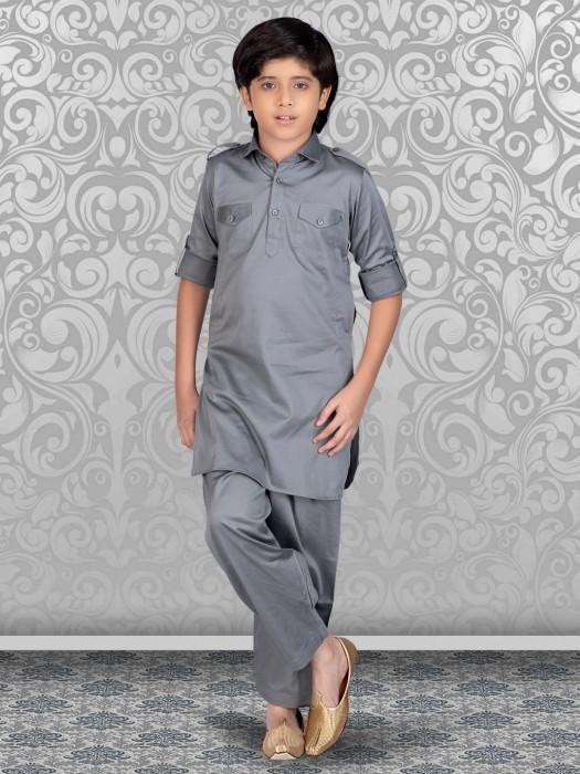 Solid Grey Cotton Festive Wear Pathani Suit