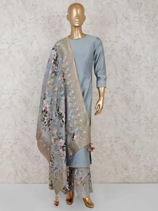 Solid Grey Cotton Silk Punjabi Palazzo Suit
