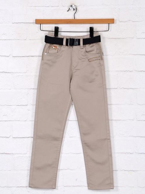Solid Khaki Denim Jeans For Boys