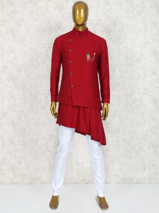 Solid Maroon Wedding Wear Waistcoat Set