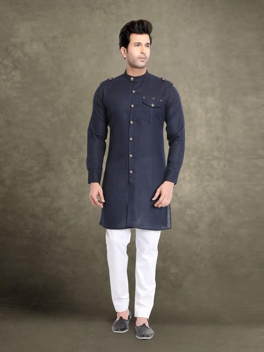 Solid Navy Cotton Festive Kurta Suit