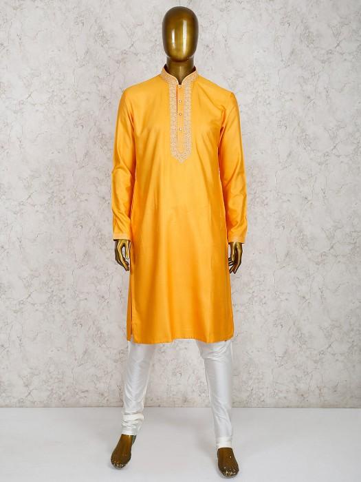Solid Orange Cotton Silk Kurta Suit