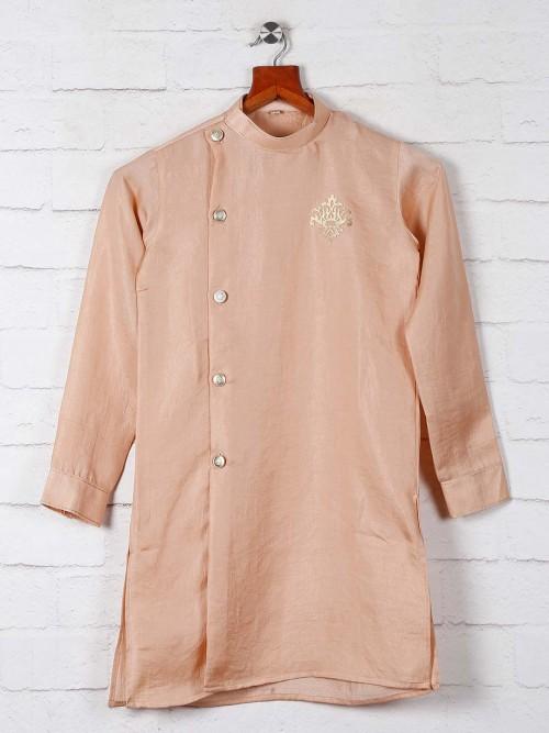 Solid Peach Cotton Boys Kurta Suit