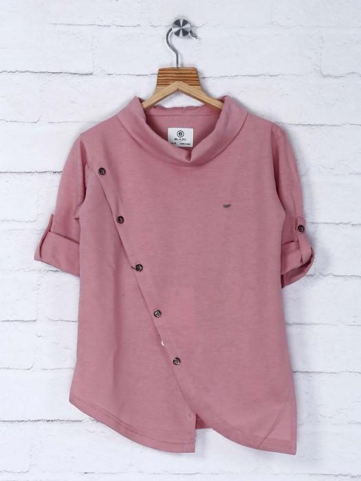 Solid Pink Cotton Festive Wear Kurta