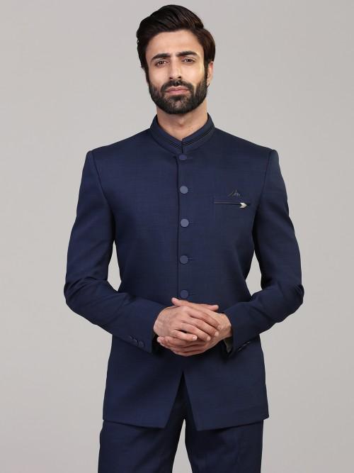 Solid Royal Blue Jodhpuri Blazer In Terry Rayon