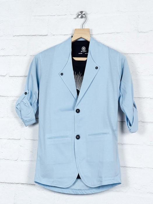 Solid Sky Blue Cotton Fabric Blazer