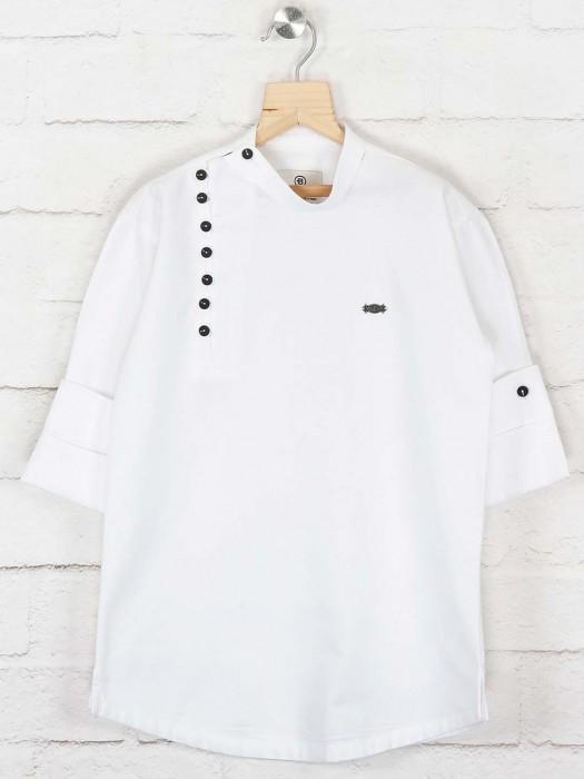 Solid White Colored Cotton Kurta