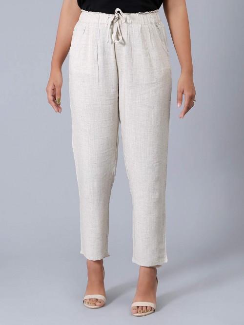 Solid White Womens Pyjama In Linen