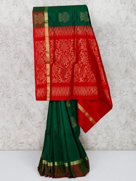 South Silk Gorgeous Green Saree