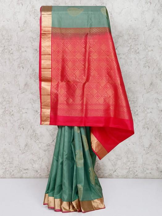 South Silk Green Wedding Saree
