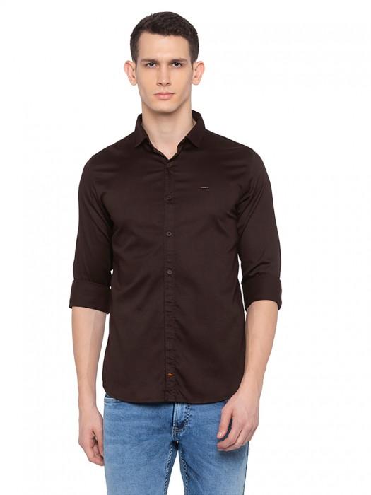 Spykar Brown Solid Cotton Shirt