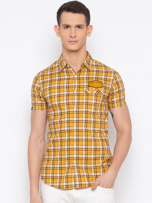 Spykar Checks Yellow Half Sleeves Shirt