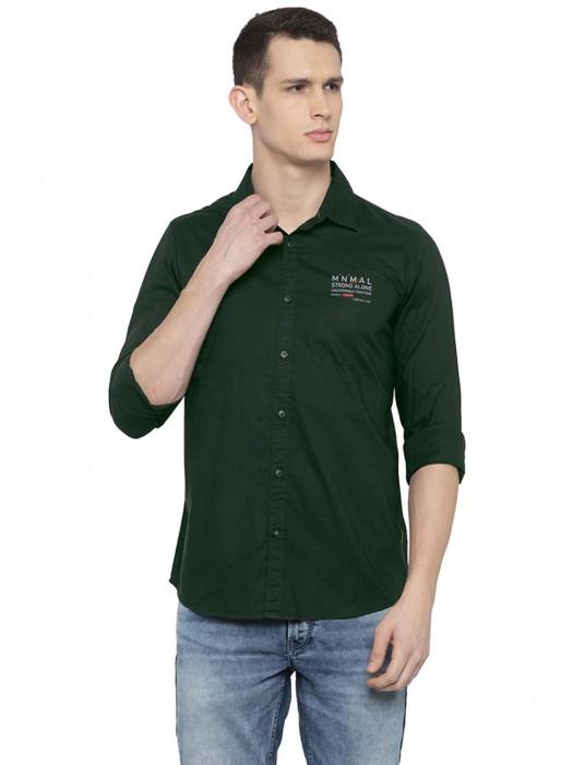 Spykar Dark Green Solid Cotton Shirt