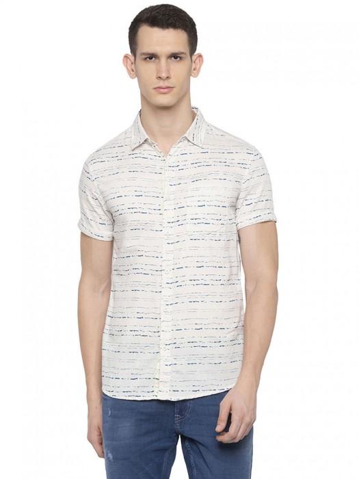 Spykar Printed Beige Cotton Shirt