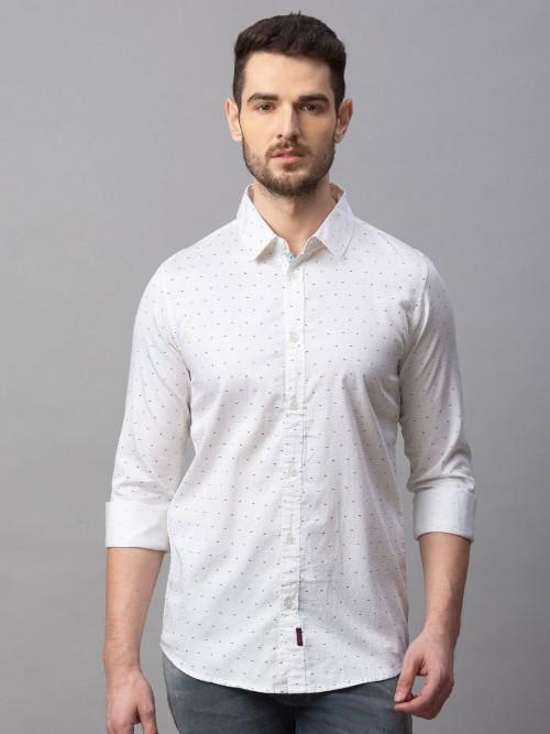 Spykar Slim Fit White Polka Dot Printed Shirt