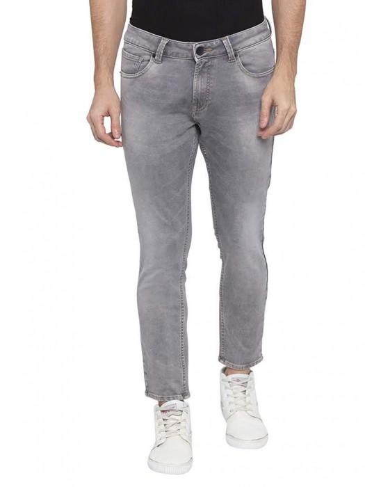 Spykar Solid Grey Skinny Fit Mens Jeans