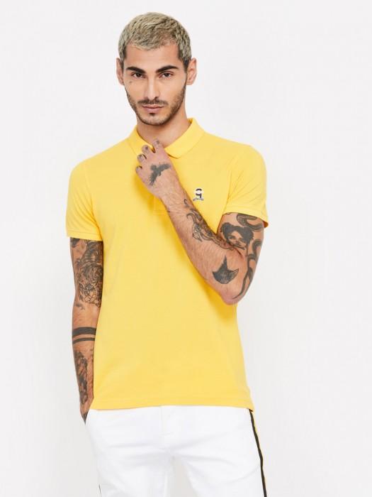 Spykar Yellow Solid Cotton T-shirt