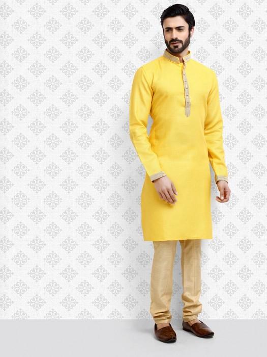 Stand Collar Yellow Hue Cotton Kurta Suit