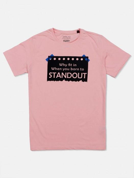 Status Quo Pink Printed Casual T-shirt
