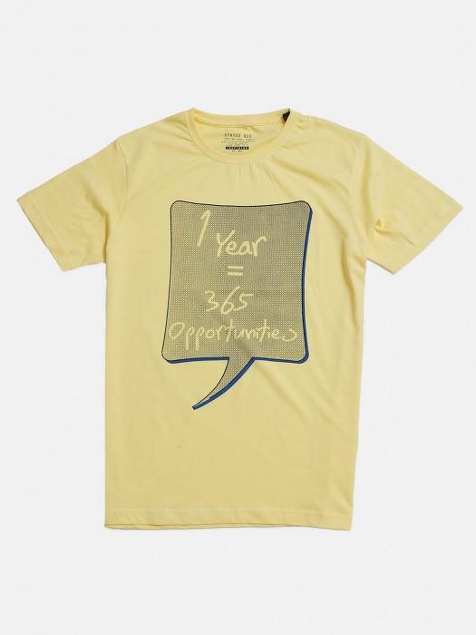 Status Quo Printed Yellow T-shirt