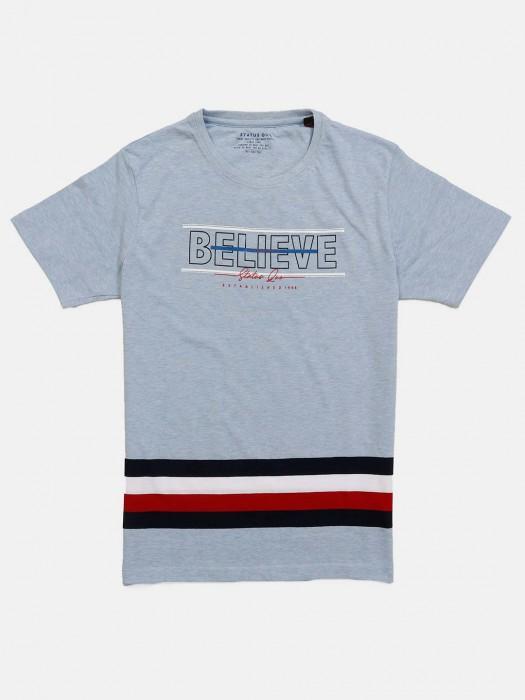 Status Quo Sky Blue Printed T-shirt