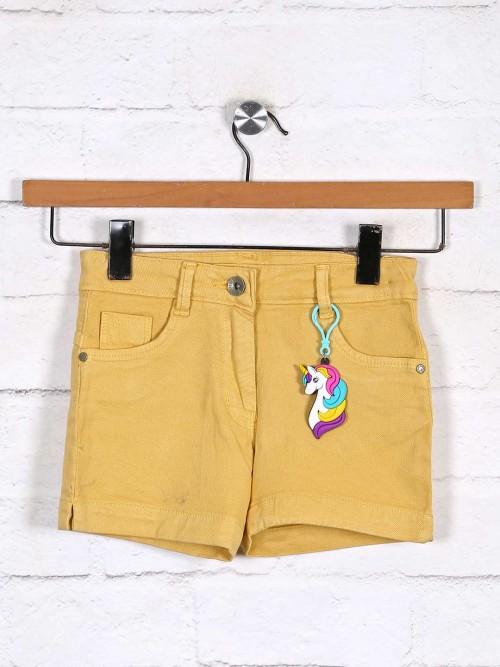 Stilomoda Solid Mustard Yellow Denim Shorts