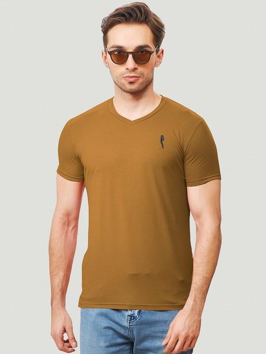 Stride Brown Color Half Sleeves T-shirt