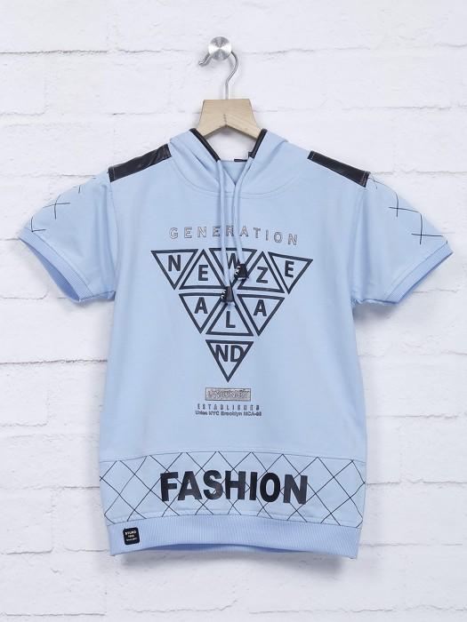 Sturd Cotton Casual Printed Sky Blue T-shirt